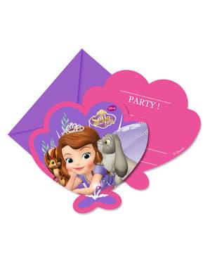 6 invitations Princesse Sofia
