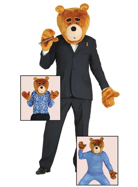 Kit de peça para a cabeça e mãos de urso traquina para adulto