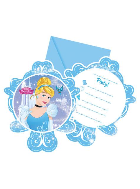 Conjunto de 6 convites A Cinderela Fairytale