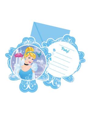 Set 6 uitnodigingen Cinderella Fairytale