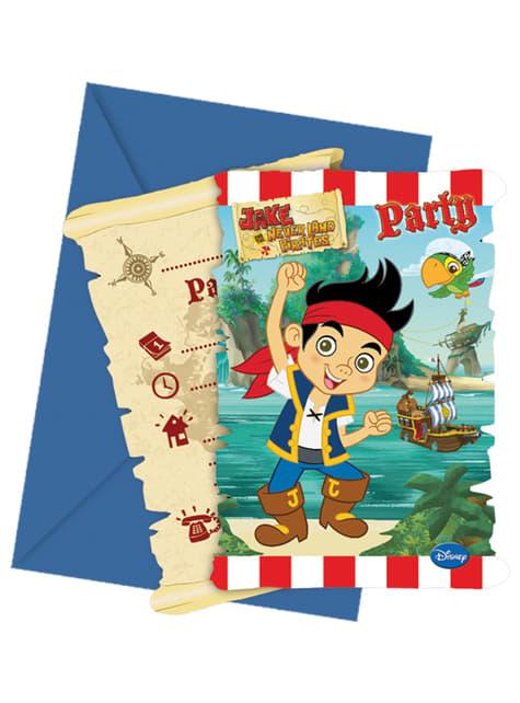 6 invitaciones Jake y los Piratas del País de Nunca Jamás