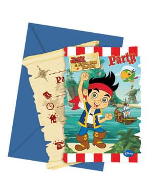 6 invitations Jake et les Pirates du Pays imaginaire