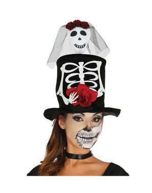 Chapeau haut de forme squelette mort mexicaine femme