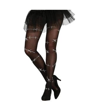 Pantys negras con costuras para mujer