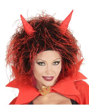 Perruque de Lucifer avec cornes pour adulte
