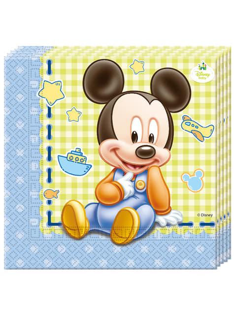 Conjunto de 20 guardanapos Baby Mickey