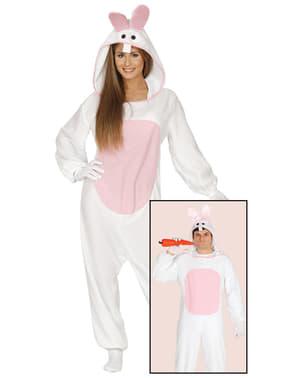 Hvidt kaninkostume til voksne