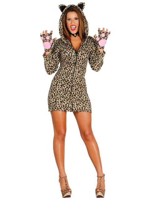 Fato de leopardo insinuante para mulher
