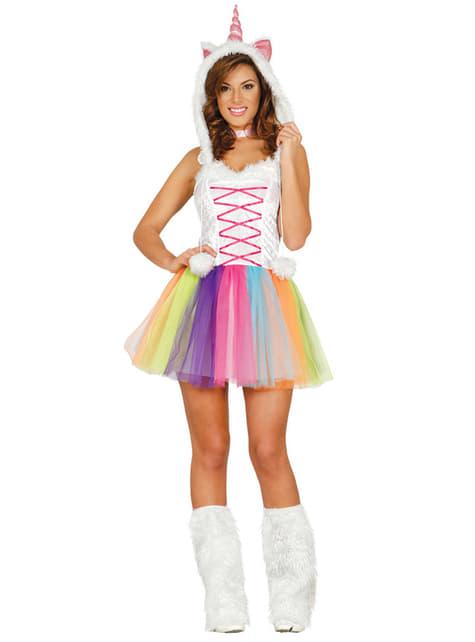 Déguisement licorne multicolore femme