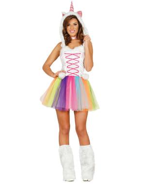 Fato de unicórnio multicolor para mulher