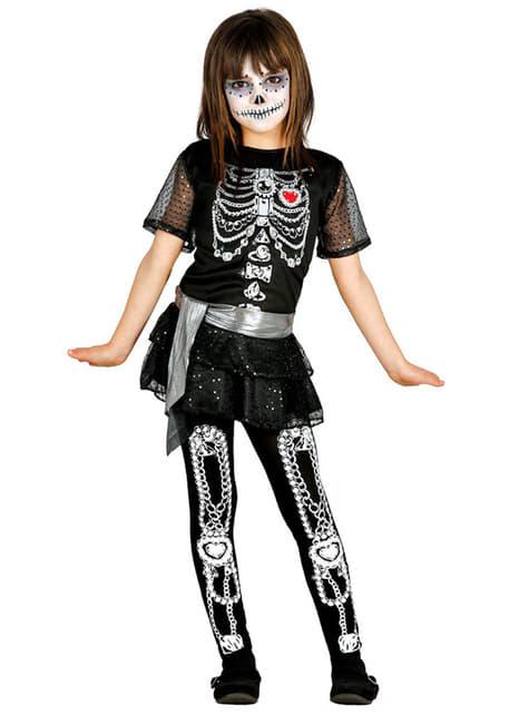 Fato de esqueleto dia dos mortos para menina