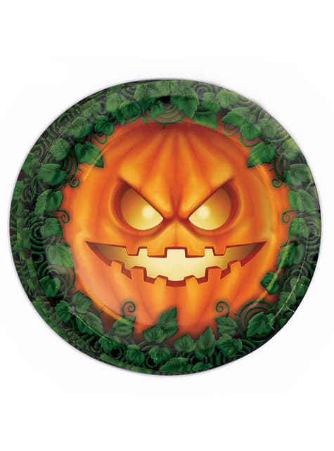 Set of 8 Halloween Pumpkin Plates