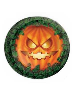 Sett med 8 Halloween Gresskar Tallerkner