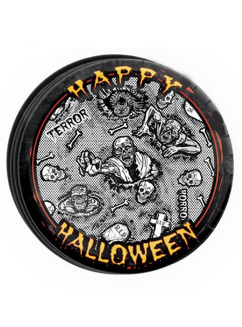 Conjunto de 8 pratos Halloween zombie