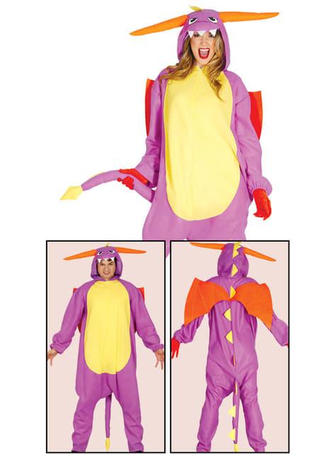 Disfraz de dragón morado onesie para adulto