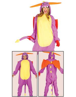 Paarse draak onesie kostuum voor volwassenen
