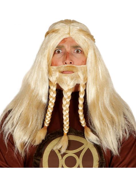 Peluca de vikingo bruto para hombre