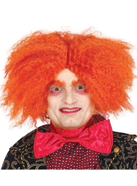 Peluca de sombrerero naranja para adulto