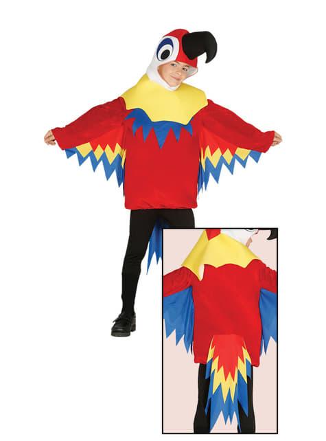 Fato de papagaio vermelho para menino