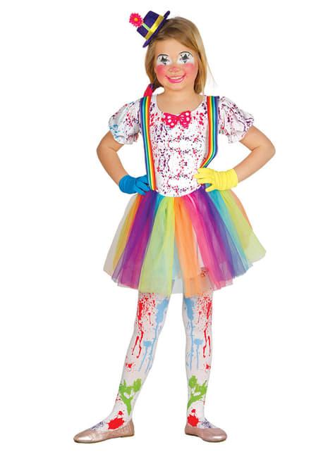 Girl's Multi-coloured Little Clown Costume
