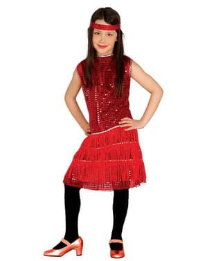 Disfraz de charlestón años 20 rojo para niña