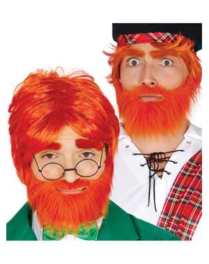 Roodharige pruik en baard voor mannen