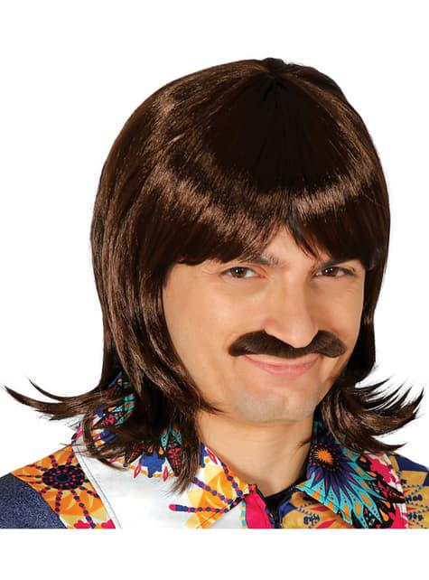 Peluca castaña con bigote para hombre