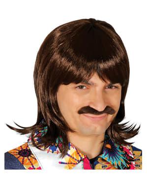 Brązowa peruka i wąsy męskie