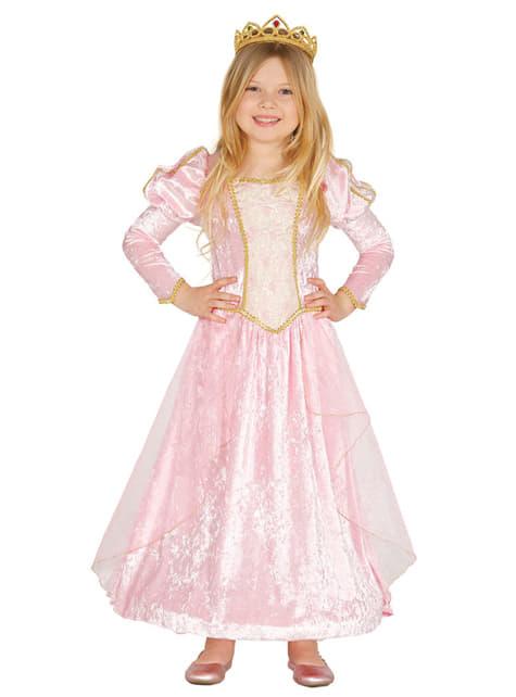 Fato de princesa cor-de-rosa dos contos para menina