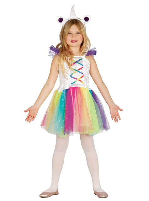 Fato de unicórnio multicolor para menina