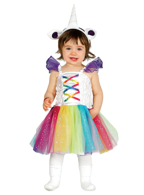 Disfraz de unicornio multicolor para bebé