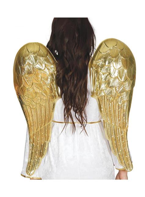 Goudkleurige engel vleugels voor volwassenen
