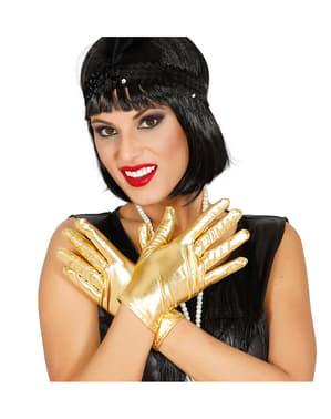 Korte guldfarvede handsker til voksne