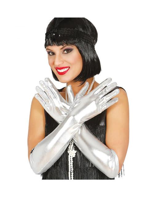Długie srebrne rękawiczki dla dorosłych