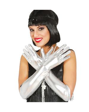 Lange sølvfarvede handsker til voksne