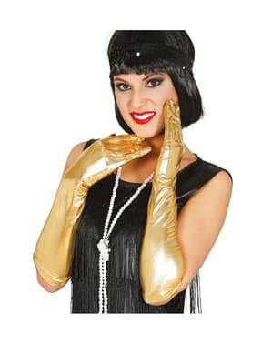 Długie złote rękawiczki dla dorosłych