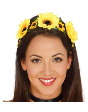 Serre-tête fleurs jaunes femme