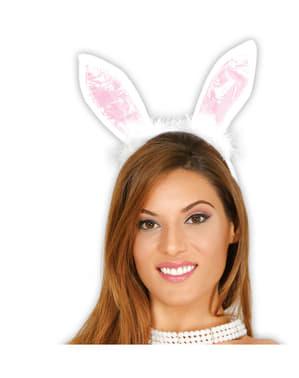Čelenka s králičíma ušima pro dospělé bílá