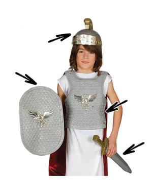 Set armatura romana per bambini argentata