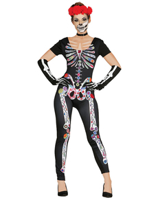 Womanu0027s Mexican Skeleton Costume  sc 1 st  Funidelia & Skeleton costumes. Skeleton fancy dresses and bodysuits online ...