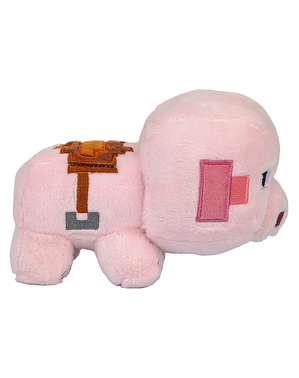Peluche Minecraft Maiale con sella Happy Explorer 11 cm