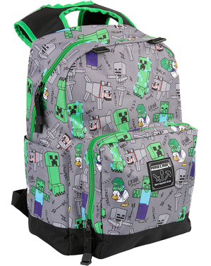 Grey Minecraft Embossed Backpack