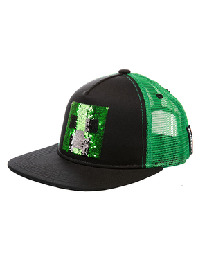 Minecraft Creeper Kappe mit Pailletten
