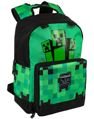 Svart og Grønn Minecraft Creeper Ryggsekk