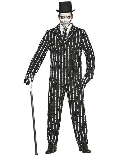 Fato de ossos de esqueleto para homem