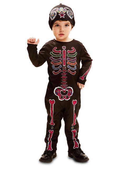 Fato de esqueleto dia dos mortos para bebé