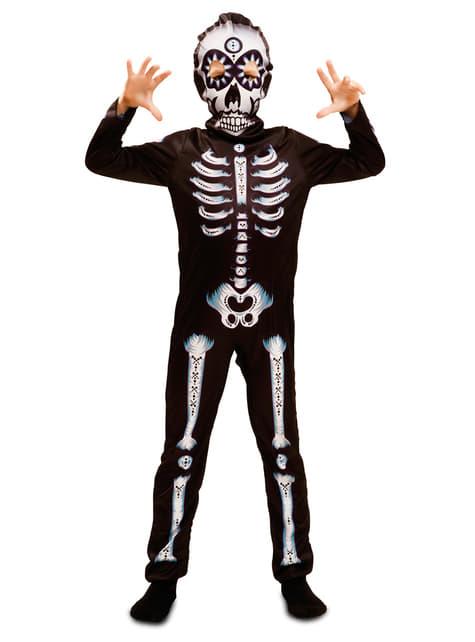 Fato de esqueleto dia dos mortos para menino