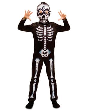 Costum de schelet ziua morților pentru băiat