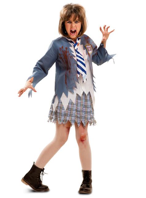 Disfraz de colegial zombie para niña
