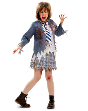 Disfarce de colegial zombie para menina